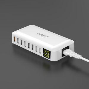 Çoklu USB Şarj 5-Port 50 W Masaüstü Şarj İstasyonu Hub QC 3.0 LCD Ekranlı Bağlantı Noktası Hızlı Adaptörü