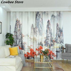 Curtain & Drapes Landscape Painting Curtains Blackout Soft Elegant Classic For Living Room Bedroom