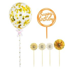 Happy Birthday Cake Toppers decoration Paper Fans Acrylic Cupcake Topper Confetti Balloon Decorations Set