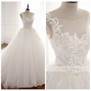 Sheer Lace Appliques A-Line Wedding Dresses 2019 Tulle Skirt Chapel Train Long Bridal Gowns Modest Sleeveless Real Photos Vestidso De Mariee