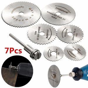 7pcs / set metallizzato in metallo sega a dischi a dischi a dischi a dischi in acciaio ad alta velocità mini sega lame con mandrini per trapano warehouse ritaglio in legno rotante