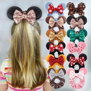 Hair Accessories 10pcs Lot 2021 Mouse Ears Sequins Bow Girls Velvet Scrunchies Fashion Elastic Bands For Teenager Headwear