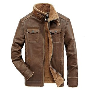 Winter Men Faux Leather Coat Brushed Thicked Mens Jackets Men's Motorcycle Leather Jacket Multi Pocket Coats Outerwear COATING