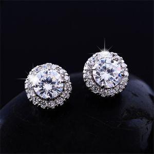 New Arrival Best Friends 18K White Gold Plated Earings Big Diamond Earrings for Women White Zircon Earrings