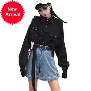 2021 Bonu Spring lâche Blouse Thicke Femmes manteau noir manches longues Harajuku Chemise pour femme Bouton Tops et Blouses