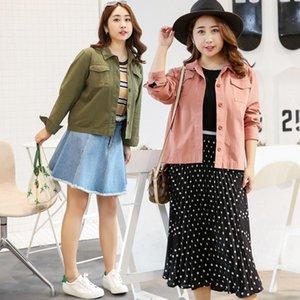 Women's Jackets Europe And America Spring Fashion Large Size Coat Soild Color Lapel Jacket