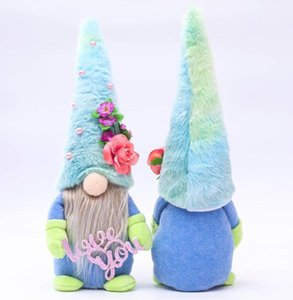 US STOCK Mother's Day Handmade Faceless Party Doll Plushed Cartoon Dwarf Blue Hat Rudolph Love You Mum Plush Dolls Gnome Gifts Decors