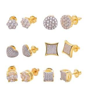 925 Sier Jewelry Earrings Sterling Mens Hip Hop Screw Back Micro Pave Stud Earring