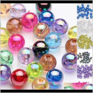Acrylic Plastic Lucite Drop Delivery 2021 100Pcs 6Mm Plated Ab Rainbow Acrylic Spacer Loose Beads For Bracelet Jewelry Finding Qhb53