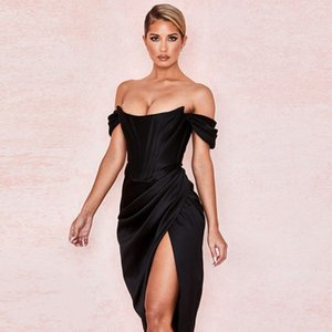 Cryptographic Off Shoulder Sexy Strapless Split Corset Satin Dresses Fashion 2020 Bodycon Dress Women Party Night Club Elegant
