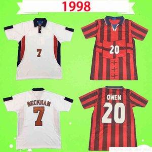 Rétro 1998 1999 Jerseys de football Home Blanc Alevé Red Vintage Football Chemise Uniformes 98 99 Cole Beckham Owen Sinclair Heskey Scholes