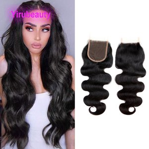Indian Wholesale 5 Pieces lot 4*4 Lace Closure Body Wave Silky Straight Natural Color 12-24inch 100% Human Hair Yiurbeauty