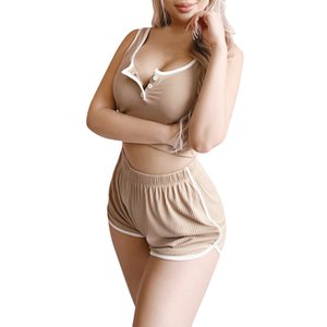 Women Short Pants Suit Summer Fitness Sexy Two Piece Set Women Tracksuit Button Up V-neck Tank Crop Tops & Sport Woman Whorts