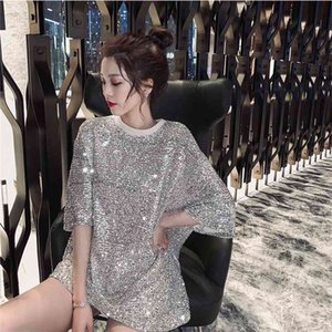 2019 Women Sequined Top Short Sleeve Bling Shiny T Shirt Lady sparkling T Shirt Formal Clothes Temperament Party Nightclub Dress 210331