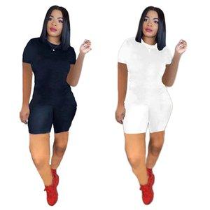 Plus Taille 2XL Tenues d'été Femmes Jogger Costumes Black Tracksuits à manches courtes T-shirt T-shirts + Shorts Pantalons Deux Morceau Set Sportswear Petites Lettres Casual Joggers 4860