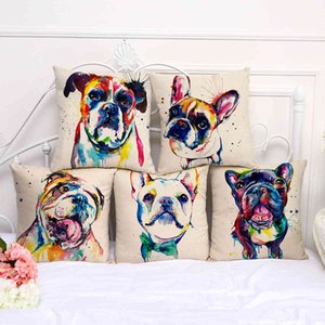 French Bulldog oil painting series sofa pillow cover bay window decoration a1072