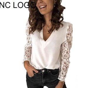 2020 NEW Spring Women Lace Long Sleeve solid Blouse Plus Size Fashion deep V-neck Casual Office Ladies Tops Elegant Sexy