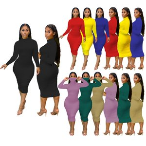 Casual Turtleneck HOT Dresses 2020 Long Sleeve Winter Maxi Bodycon Dresses Women Plus Size Dress