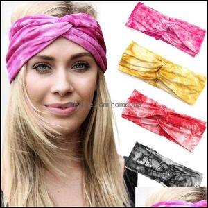 Headbands Jewelry Jewelryfashion Women Headband Solid Color Wide Turban Twist Knitted Cotton Sport Yoga Hairband Twisted Knotted Headwrap Ha