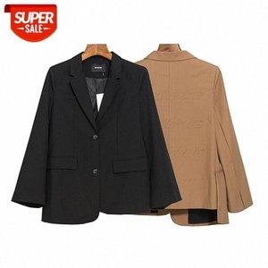 Black woolen suit jacket women's thick vintage net red large-profile loose #a751
