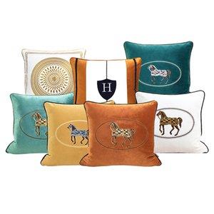 Роскошная гостиная диван декоративная подушка для вышивки лошади подушка подушка отеля спальня кровати кровати квадратное бросить наволочки