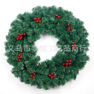 2021 regular green PVC Christmas wreath with red fruit hot door hanging decoration 50cm decorative wreath5OLV