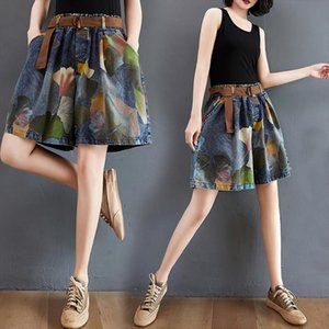 High Quality Large Size Women Shorts Loose Printed Denim Casual Oversize Summer Retro Wide Leg