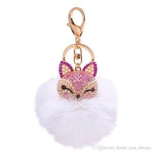 Palla volpe carina strass chiave keychain keychain catena di pelliccia sacchetto perla ringeyring auto charm kflrw