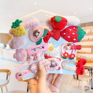 Hair Accessories 10 Pcs Set Children Cute Faux Fur Fruit Scrunchies Rubber Bands Hairpins Girls Lovely Sweet Clips Kids