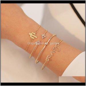 Bracelets Drop Delivery 2021 4Pcs Golden Color Girls Bangles Set Love Cactus Crystal Triangle Bangle Geometry Design Bracelet For Women Jewel