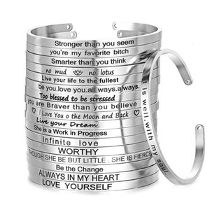 4mm   6mm Quotes Mantra 316l Stainless Steel Open Cuff Bangle Fashion Female Inspirational Jewelry Bracelets Sl-149