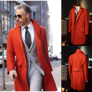 Orange Tweed Wool Men Long Coat Tuxedos Winter Warm Two Button Groom Party Prom Jacket Business Wear Outfit One Suit