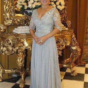 Серебряная половина рукава мать невесты платья a-линии длина пола v-образным вырезом плиссирует кружева шифон формальные вечерние платья свадьба гостевая платье M116