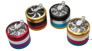 Rainbow Herb Grinders D63 mm 4layer Aluminium Alloy Grinders tobacco grinder Clear Top Window hand control Grinder Sharpstone FWB10755