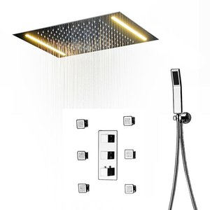 360x500mm Modern style shower 3 functions water jets bathroom thermostatic shower set system Rainfall faucets
