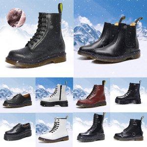Designer men women Martin boots Smooth Leather Oxford Winter Shoes Ankle Half Black white Bordeaux Red Pumpkin mens fashion platform boot