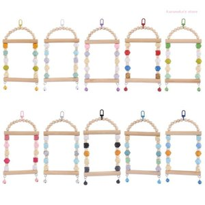 Bird Cages Neko Swing Perch Parrot Wooden Chew Toys Hanging With Bell Beads Small Cage Toy