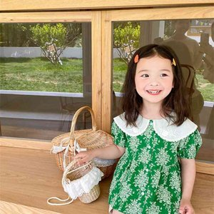 Summer fashion floral short sleeve shirts Girls cotton embroidery doll shirt Tops 210708