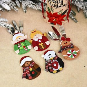Christmas Decorations Tableware Cover Xmas Table Decoration Cartoon Santa Claus Elk Snowman Penguin Knife and Fork Covers DHB10777