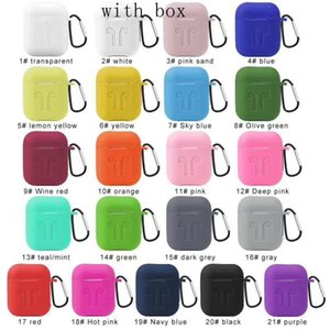 2 in 1 For Apple Airpods 1 2 Cases High quality Silicone upset Protector Airpods Cover Earpod Case Anti-drop With Hook Retail Box