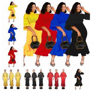 European and American fashion mesh stitching lantern sleeves ruffled dress long skirt, yellow, red, black, blue, support mixed batch