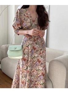 Bahar 2021 Kore Doğu Kapısı Retro Kabarcık Kol Çiçek Uzun Elbise Mizaç