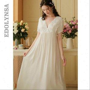 Vintage Gotik Victoria Gece Kadın Pijama Elbise Beyaz Pamuk Flare Kol V Boyun Dantel Süslenmiş Fırfır Hem Yaz Gecelik T682