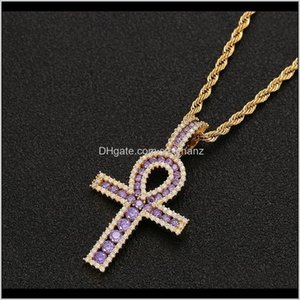 Necklaces & Pendants Drop Delivery 2021 Ankh Cross Gold Sier Copper Material Iced Zircon Egyptian Key Of Life Pendant Necklace Men Women Hiph