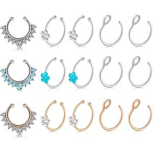 Fake Non-Pierced Clip on Nose Hoop Rings with Flower Crystal Faux Piercing Body Jewlery for Women