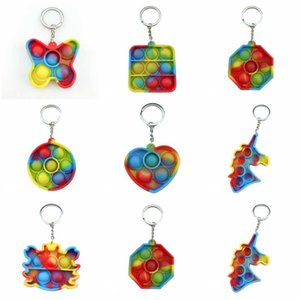 US STOCK Party Favor Decompression Toys Simple Dimple Key Ring Push Bubble Keychain Squeeze Finger Fun Bubbles Game Squishy Stress Relief