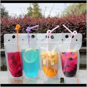 Cups Sts Disposable Kitchen Supplies Kitchen Dining Bar Home Garden Drop Delivery 2021 100Pcs Clear Drink Pouches Bags Frosted Zipper Standup