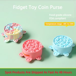 Cute Rainbow Fidget Toys Turtle Coin Purse Push Sensory Bubble Decompression Toy Cartoon Wallet Silicone Purses Kids Mini Bags GWF10431