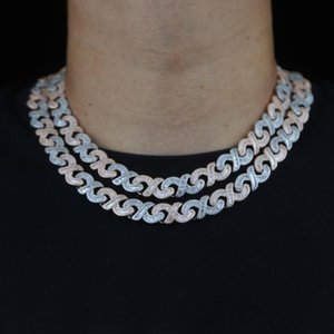 Chokers Iced Out Bling Baguette Cubic Zirconia CZ Paved Infinity Miami Cuban Chain Necklace Hiphop MensTwo Tone Plated Fashion Jewelry