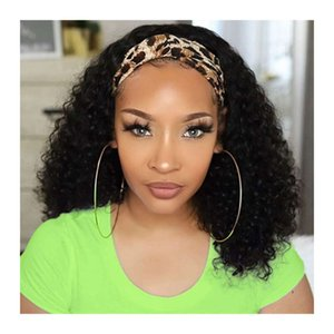 high qualityWholale Kinky Curly Wigs Half Scarf Human Hair Cheap Virgin Natural Coily Headband Wig for Black Women with AttachedTW